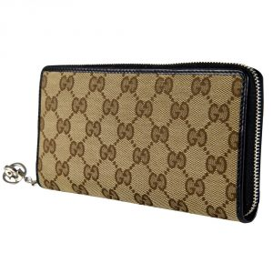 Shop Gucci online India My Luxury Bargain GUCCI CANVAS GUCCISSIMA LONG ZIPPY WALLET