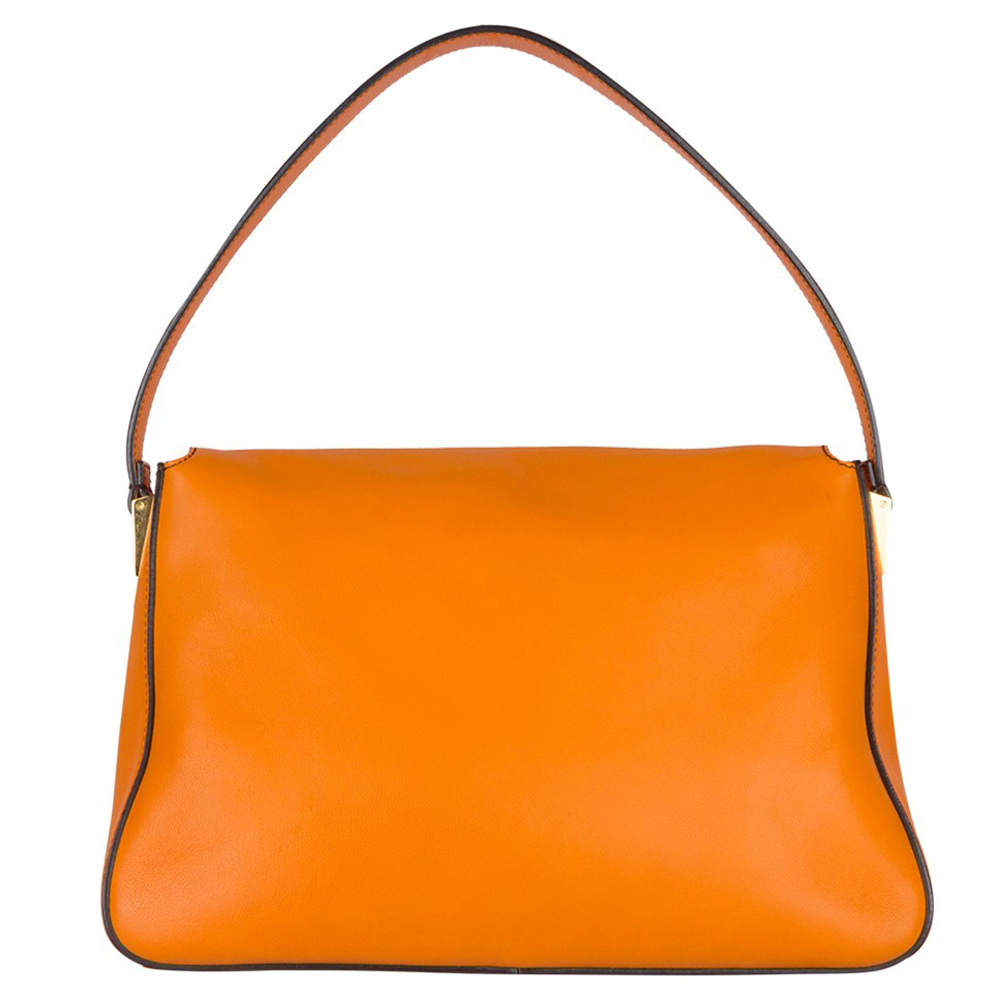 Fendi Orange Leather Mama Shoulder Handbag