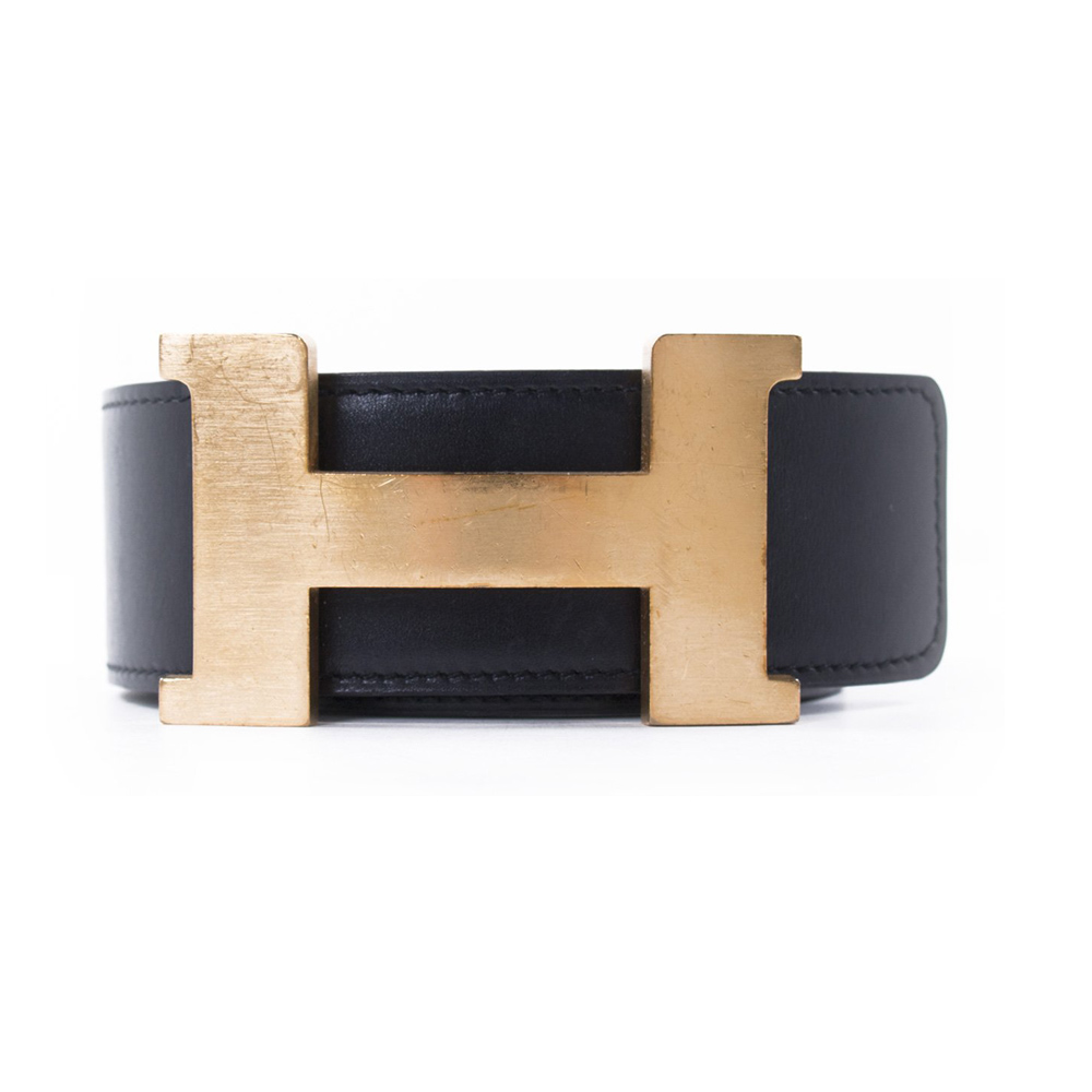 e0960f61c7c HERMES CONSTANCE BLACK DARK BROWN H BUCKLE REVERSIBLE BELT