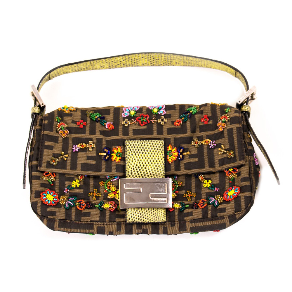 eefcec0d7aa4 FENDI ZUCCA FLORAL EMBELLISHED MINI BAGUETTE SHOULDER BAG