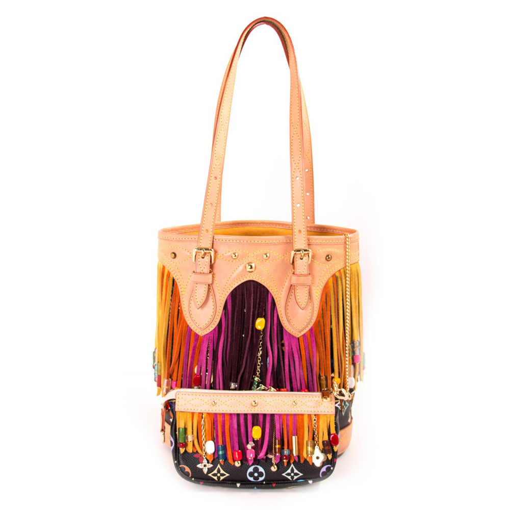 c1fa8e2f700f LOUIS VUITTON BLACK MONOGRAM MULTICOLOR FRINGE BUCKET BAG