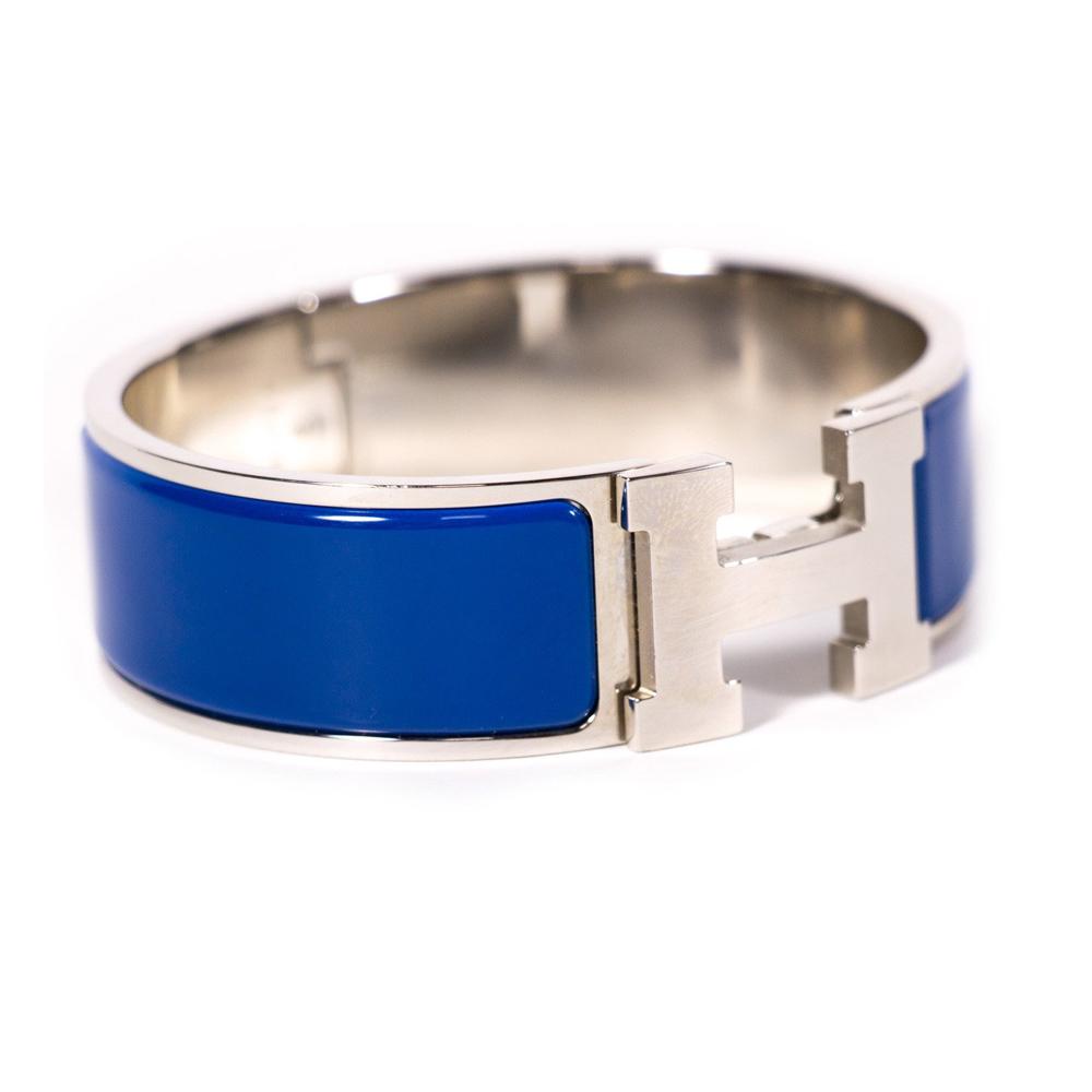 HERMES CLIC CLAC H WIDE DARK BLUE ENAMEL BRACELET   2ef50bbbcd6
