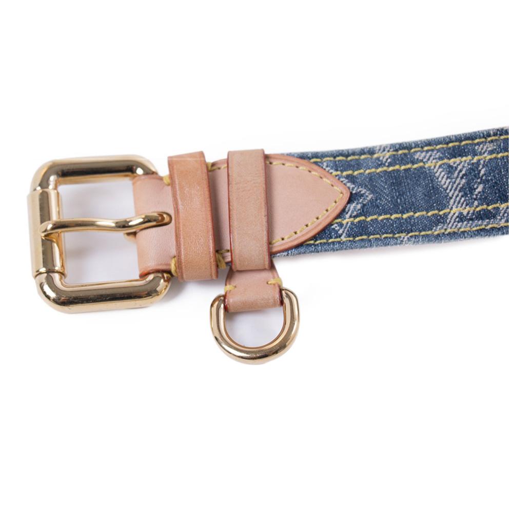 Louis Vuitton Blue Denim Monogram Belt 80cm