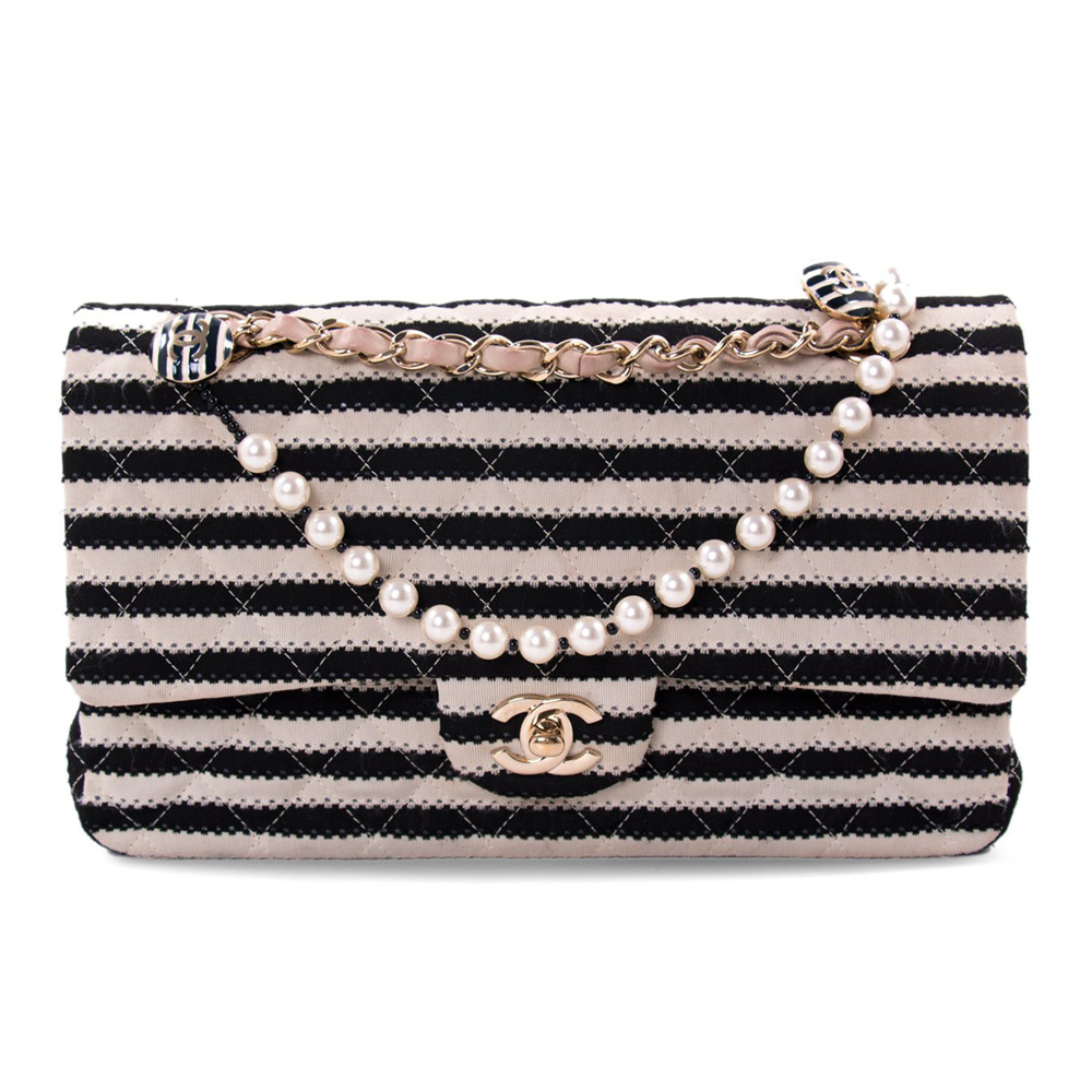 e18e109379a4 CHANEL BLACK WHITE STRIPED COCO SAILOR SHOULDER BAG