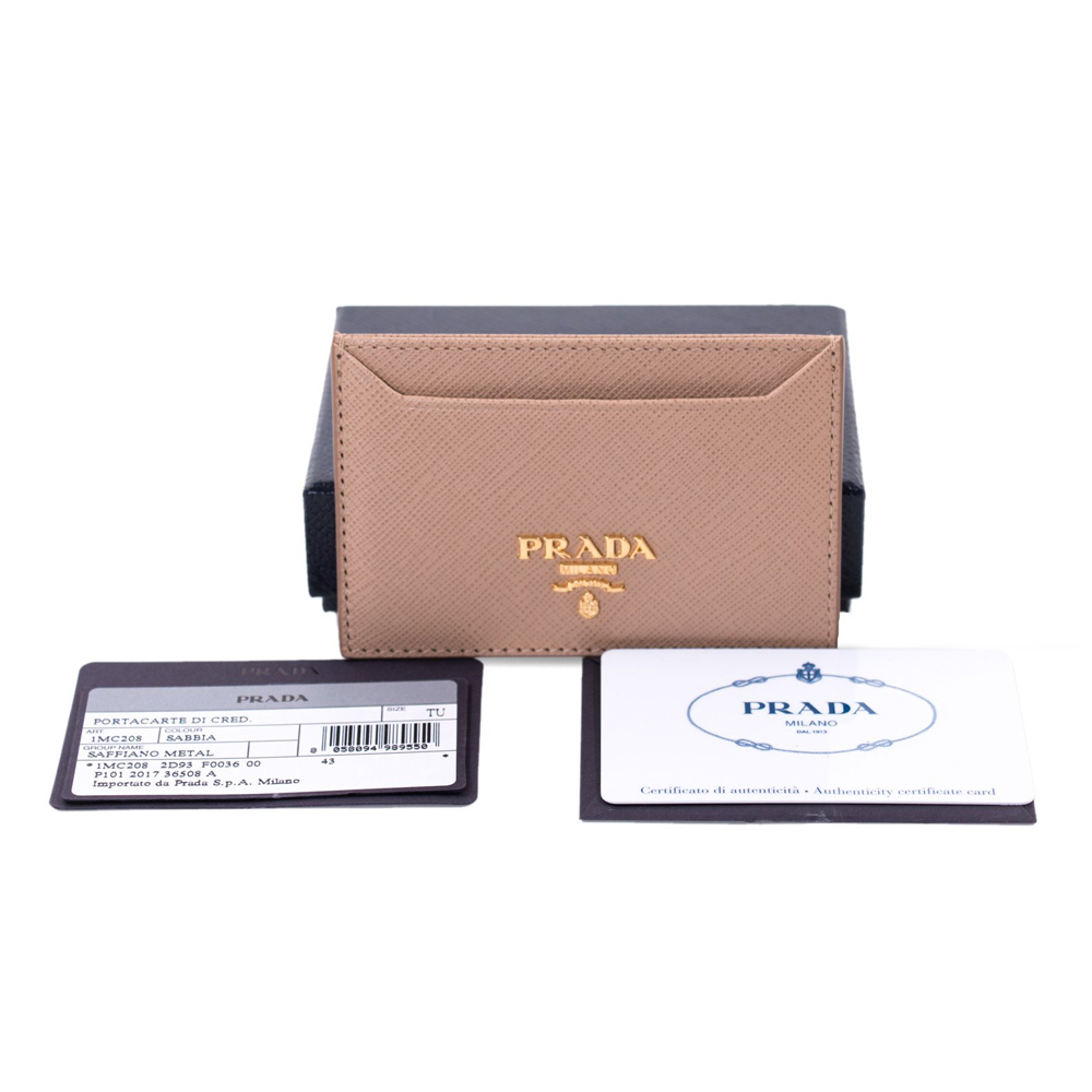 b2017107b820 PRADA TAN SAFFIANO LEATHER CARD HOLDER