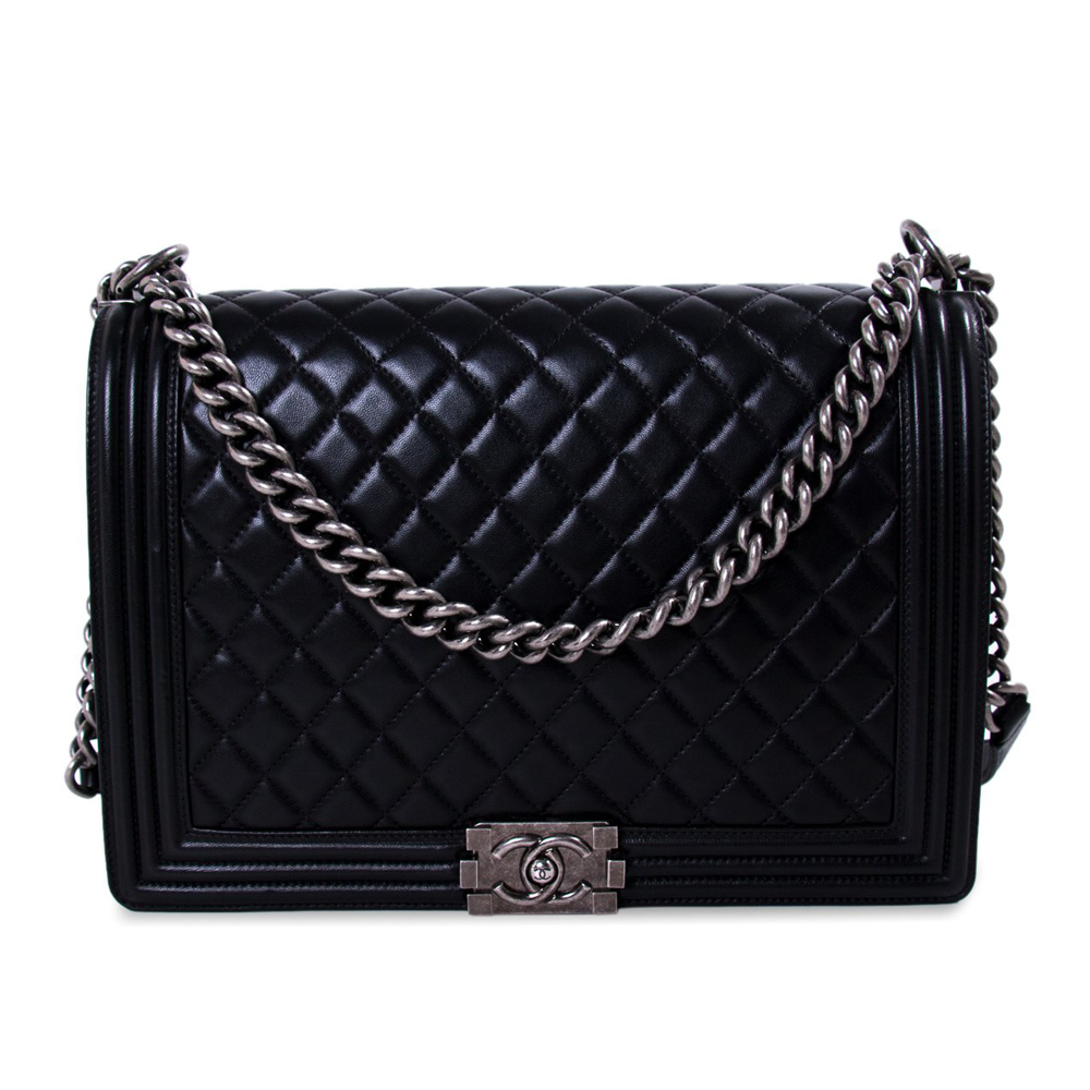 CHANEL LARGE BLACK QUILTED LEATHER LARGE BOY BAG  f5ce480c1f9c9