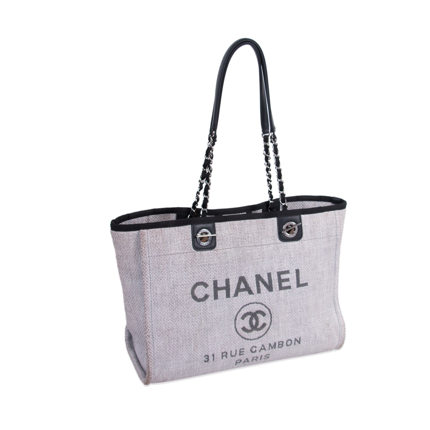 834ce10ceaaf CHANEL LIGHT GREY CANVAS SMALL DEAUVILLE TOTE